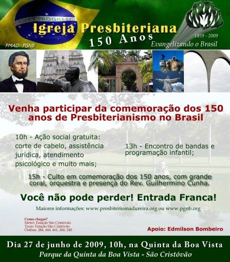 Comemoração dos 150 anos da Igreja Presbiteriana